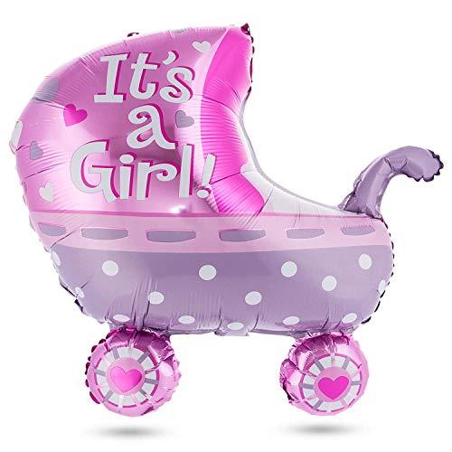 Baby Shower Heliumballon Party Deko Kinderwagen Luftballon - Mädchen; Pink - für Feier der Bekanntgabe des Geschlechts