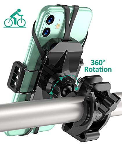 TEUMI Bike Phone Mount with 360° Rotation, Anti-Shake Adjustable Motorcycle Phone Mount for Bicycle & Scooter, Compatible with iPhone SE/11/11 Pro Max/XR/8/7 Plus, Samsung S20/S10 Plus/S9/Note10 Plus