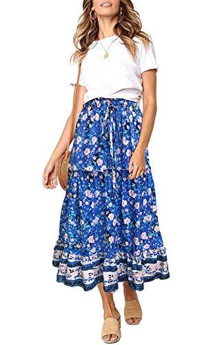 ZESICA Women's Bohemian Floral Printed Elastic Waist A Line Maxi Skirt with Pockets Blue