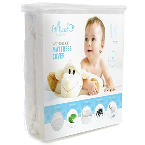 MILLIARD Quilted, Waterproof Crib & Toddler Mattress Protector Pad, Premium Hypoallergenic Fitted Cover with Extra Padding 28x52x6
