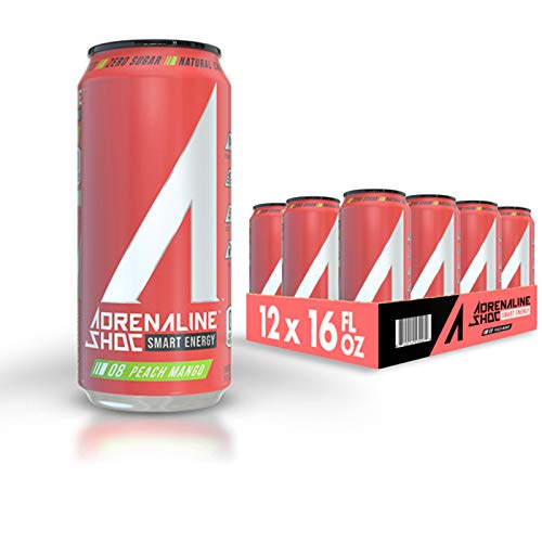 Adrenaline Shoc Performance Energy Drink, Peach Mango, Zero Sugar, 16 Ounce Can, Natural Energy Blend, BCAAs, Ocean Minerals, and no Chemical Preservatives, 12 pack