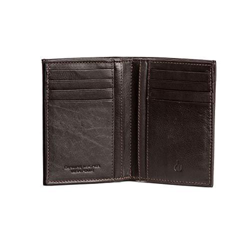 DV Portafoglio uomo da 16 Portatessere Porta carte Verticale in Vera Pelle Nappa Porta banconote Marrone scuro