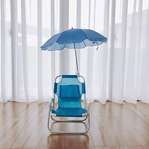 Silla Plegable Parasol para niños Sillón y Juego de sombrilla Muebles de jardín al Aire Libre Terraza de Playa Parasol Multicolor Inclinado Protección de Sombra (Color: Azul)