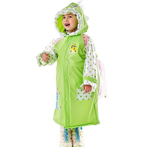 QHGao waterdichte jas voor kinderen, met capuchon, waterdicht, met kap en zak, opblaasbare kap in de vorm van een diermotief, poncho, lang
