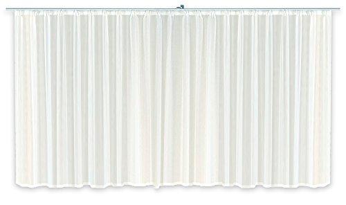 Haus und Deko Gardine Kräuselband Emotion weiß transparent 1100 x 245 cm Organza Vorhang klassisch kurz mittel oder lang Voile Store