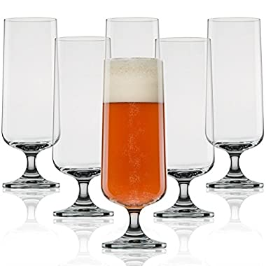 Craft Beer Glasses-Pilsner Glasses-Nucleated for Better Head Retention, Aroma and Flavor (6 Pack)-Handsomely Designed, Crystal 18 oz Craft Beer Glass for Beer Drinking Enhancement-Gift Idea for Men