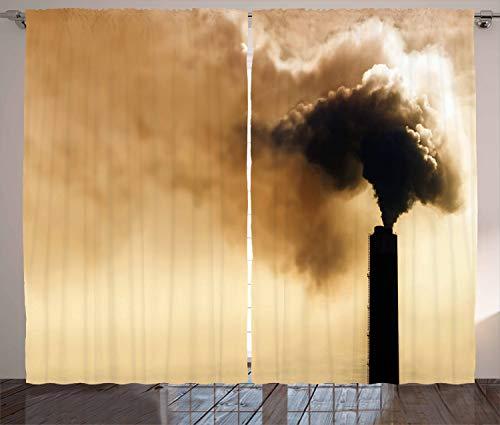 ABAKUHAUS industrieel Gordijnen, zware rook, Woonkamer Slaapkamer Raamgordijnen 2-delige set, 280 x 260 cm, Pale Brown Black
