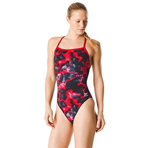 Speedo Women's Swimsuit One Piece Endurance+ Flyback Printed Adult Team Colors,Energy Speedo Red,28