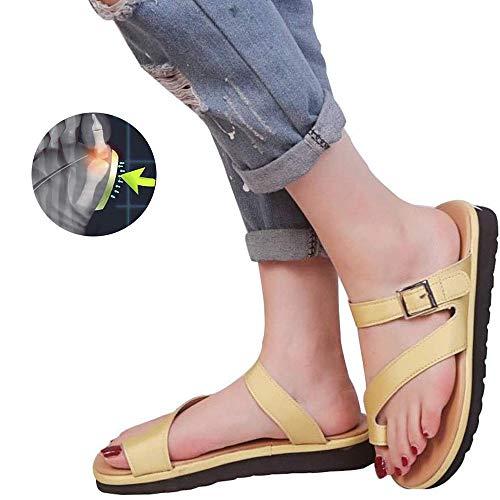 WANL Bequeme Plattform-Sandalen, orthopädische Korrekturschuhe, Zehenklammer, Flip-Flops, geeignet für Strände, Schwimmbäder, Straßen, Partys und andere Anlässe, Gelb - gelb - Größe: 41 EU