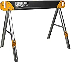 ToughBuilt - Sawhorse with 2x4 Support Arms 1100 LB Capacity - Heavy Duty Construction with Fast Open Legs and Easy Grip Handle - (TB-C500)