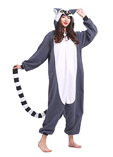 DELEY Unisex Adulto Animale Pigiama Lemure Caldo Onesies Pigiama Cosplay Homewear Anime Costume