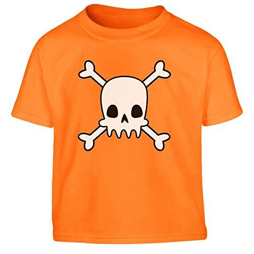 Shirtgeil Teschio con Ossa - Simpatico Costume di Halloween Maglietta per Bambini 1-2 Anni (86/94cm) Arancione