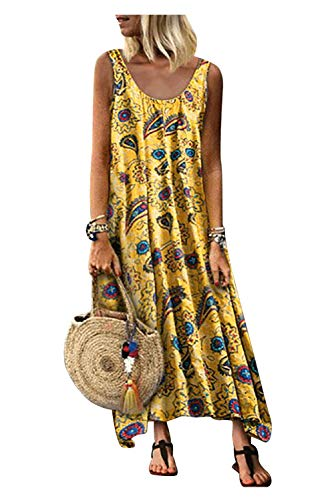 Vestido Tirantes Mujer Largo Bohemio Hippie Chic Vestido Estampado Floral Etnico Swing Vestido Linea a Tunica de Playa Casual Vestido Sin Mangas Hombros Descubierto Caftan Baño Talla Grande Maxi Dress
