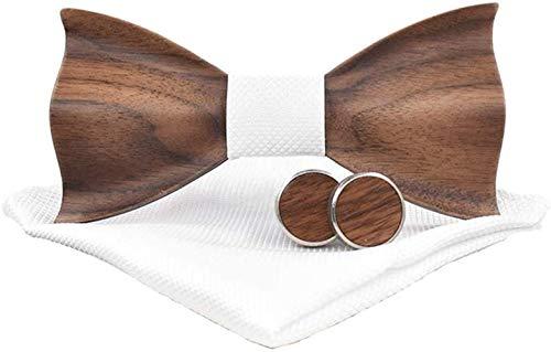 Holzfliege männer holz fliege herren klassische 3d geprägte hölzerne Fliege Set Plaid Quadrat Schal Manschettenknöpfe Lässige Massivholz Umweltschutz Set (Weiß)