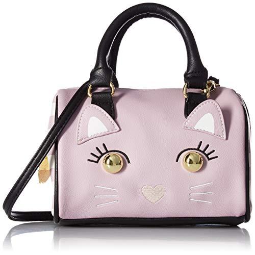Luv Betsey Johnson Harly Kitch Kitten Face Mini Barrel Crossbody Satchel Bag - Mauve