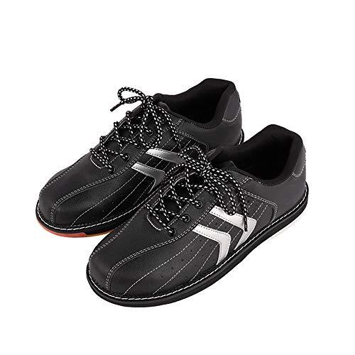JJK Damen Bowlingschuh, Damen Leder Bowling-Trainer-Schuhe Schnüren Sich Oben Indoor-Sport-Schuh Griffige Bowl Sneakers,Schwarz,39