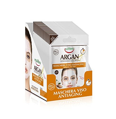 Equilibra Argan Maschera Viso Anti-Aging, Confezione da 24 Pezzi (24 x 2 Monodose)