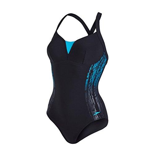 Speedo Bañador para Mujer de Espalda Abierta y Tiras Cruzada, Sculture Shinedream, Mujer, Color Black/Aquarium, tamaño Talla 34/36