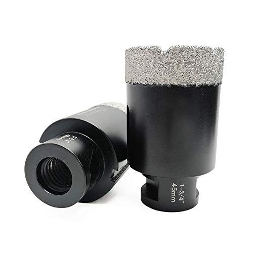SHENYUAN 2pcs 1-3/4' Vacuum brazed Diamond Dry Drilling core bits Dia 45mm 5/8-11 Thread Porcelain Tile Granite Marble Hole Saw