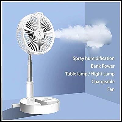 DZT1968 Portable Telescopic USB Eletric Fan - Humidifying Hydration Water Spray Fan - Table Desk Lamp Fan, Floor Standing Room Fan with Phone Holder, Quiet Foldable Desktop Cooling Fans (A - White)