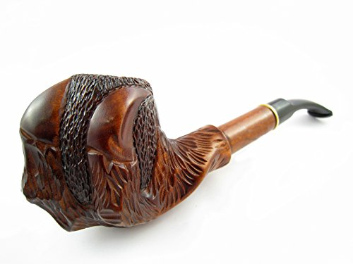Fashion Decorated Tobacco Smoking Pipe Eagle Claw Churchwarden Carved Pear Root + Pouch