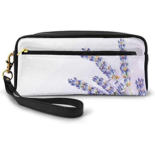 Little Posy of Medicinal Herb Fresh Plant of Purple Flower Spa Aromatheraphy Organic Small Makeup Bag Pencil Case 20cm * 5.5cm * 8.5cm