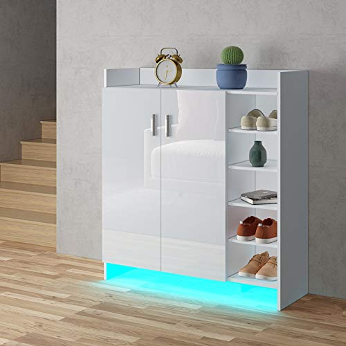 UNDRANDED LED Light High Gloss 2 Doors Shoe Cabinet Storage Footwear Organizer Stand Rack - White with LED Light