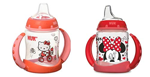 NUK 2 Count Pretty In Pink Leaner Cup, 5 oz (Hello Kitty/Minnie)