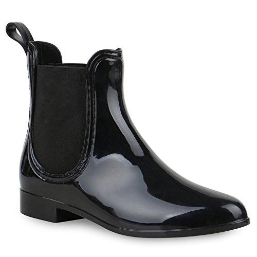 Damen Stiefeletten Chelsea Boots Gummistiefeletten Lack Gummistiefel Regen Schuhe 121284 Schwarz Schwarz 36 Flandell