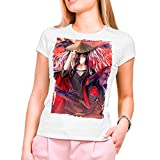 Camiseta Mujer Manga y Anime Naruto, Uchiha Itachi - Akatsuki (Blanco, M)