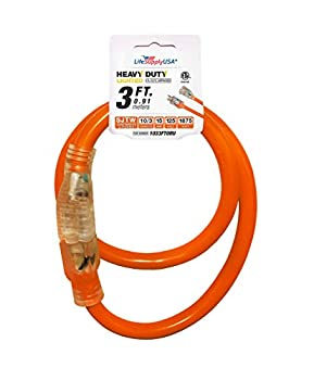 3 ft Extension Cord 10/3 SJTW with Lighted end - Orange- Indoor / Outdoor Heavy Duty Extra Durability 15 AMP 125 Volts 1875 Watts ETL Listed - by LifeSupplyUSA