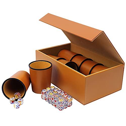 ETmate Würfelbecher Leder, Lügner Würfel, PU Leder Würfel Cup Set, Party Games Beinhaltet 8 Tassen + 48 Würfel + Exklusive Aufbewahrungs- Und Transportkiste Aus Kunstleder Mit Magnetverschluss.