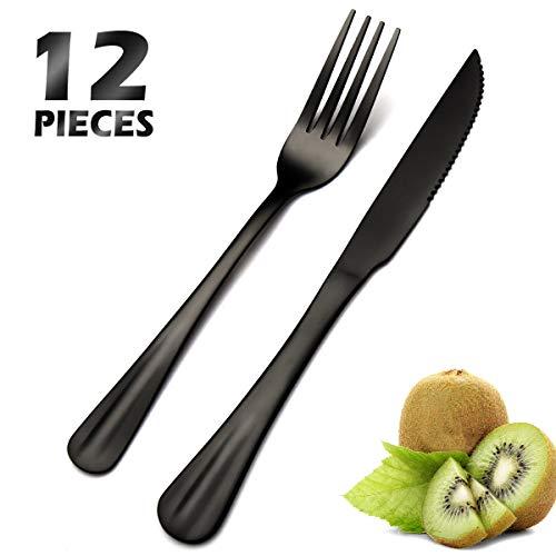 Juego de 12 cuchillos y tenedores, de acero inoxidable, 6 cuchillos de carne y 6 tenedores, puntas pulidas finas,...