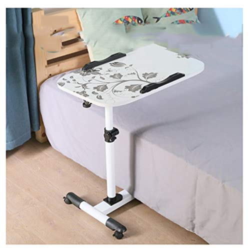 RKRXDH Adjustable Standing Laptop Desk,Folding Breakfast Serving Coffee Tray Notebook Stand Reading Holder,Portable Laptop Desk overbed table (Color : 305 white flower)
