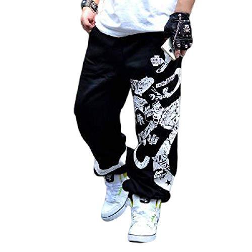 Pantalones Casuales para Hombre Pantalones Holgados de Hip Hop Estilo étnico Retro Pantalones de chándal Lavados de Gran tamaño con Estampado de Moda Medium