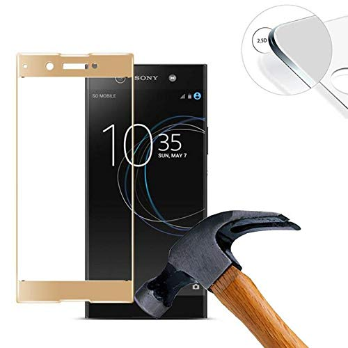 ELICA 5D (Pack of 1) Full Curve Tempered Glass for Sony Xperia XA1 Dual G3121 / G3112 / G3125 / G3116 / G3123 - Gold