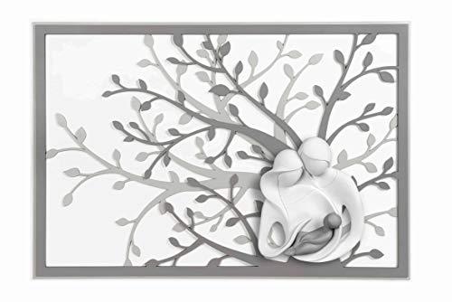 MAZZOLA LUCE Quadro capezzale 70x48 per Camera da Letto Sacra Famiglia Albero della Vita Moderna capoletto Design Grigio