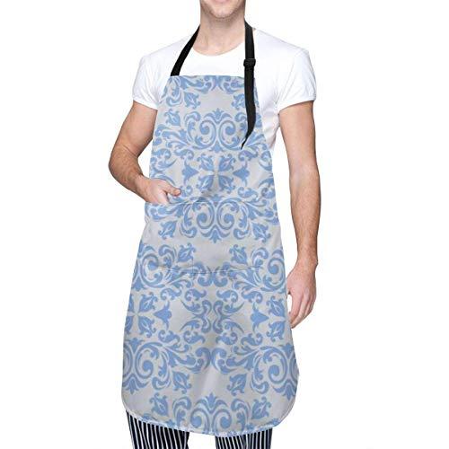 Arabesco Patrón Unisex Moderno Moda Impermeable Tela Oxford Delantal de Cocina Ajustable Fácil de Usar Chef Cocina Bata para Hornear Jardinería Uñas Babero Hombres y Mujeres Delantal 33 x 28 Pulgadas