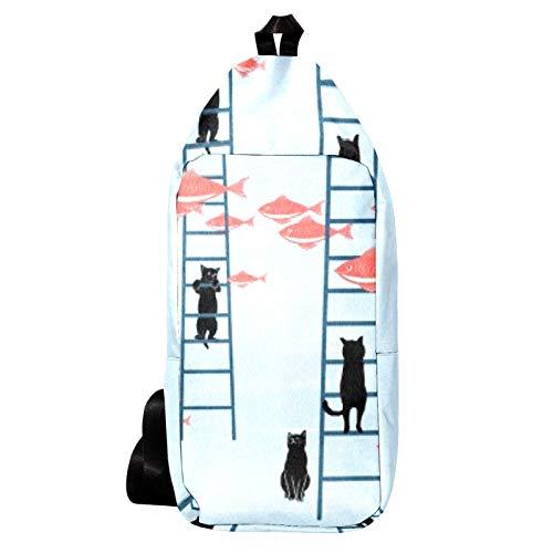 EZIOLY Schwarze Katze Leiter Schulterrucksack Sling Bag Crossbody Tasche Reise Wandern Daypack für Männer Frauen