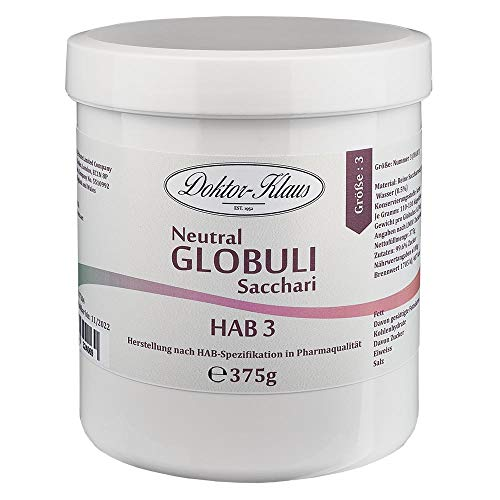 375g Neutral Globuli HAB 3, Doktor-Klaus, reine Saccharose, in weisser Dose