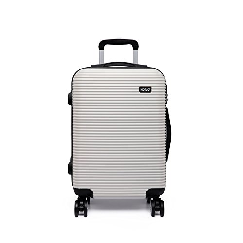 Kono Carry-on Suitcase with 4 Spinner Wheels Lightweight Hard Shell PC Luggage (Small 20', White) K6676L WE 20