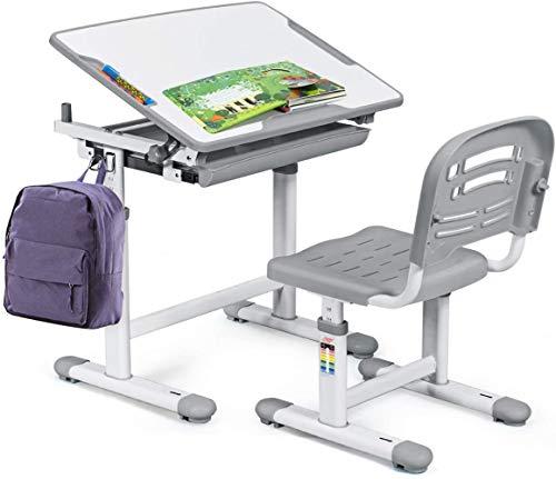RELAX4LIFE Kinderschreibtisch und Stuhl Set, höhenverstellbarer Schreibtisch mit Schublade und Schultaschenhaken…