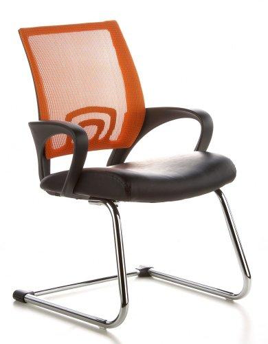 hjh OFFICE Konferenzstuhl/Freischwinger Visto NET V Netzstoff schwarz/orange Chrom