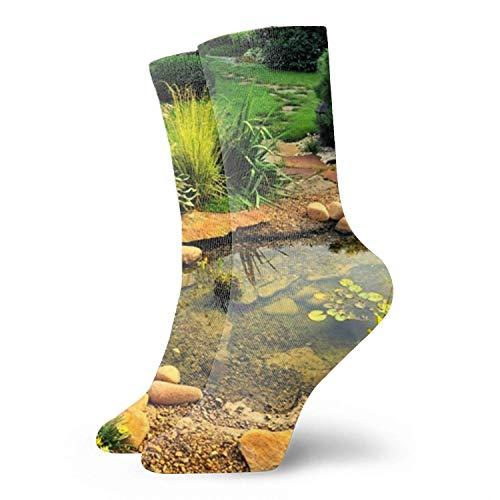 Männer/Frauen Fun Dress Socks -Field Path In The Garden Bunte lustige Neuheit Crazy Socks
