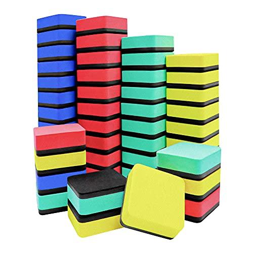 Mini Dry Erase Erasers, IHPUKIDI 48 Pack Magnetic Whiteboard Dry Erasers Chalkboard Cleaner Wiper...