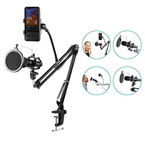 Neewer® Regolabile Stand Asta di Sospensione Braccio a Forbici per Microfono con Rotondo Filtro Popo Antivento, Supporto Anti-vibrazione e Supporto pe