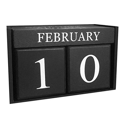 Winomo senza fine in legno data calendario legno blocchi manuale calendario da tavolo, decorazione per casa e ufficio (nero)