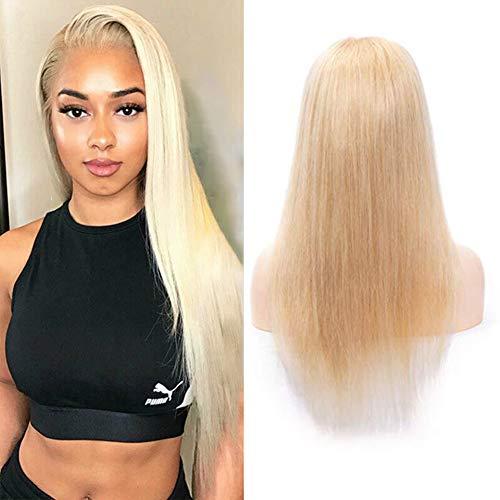 Blonde Cheveux Remy indiens Wig étoile droites indien Cheveux humains Pre Poils Perruque lace front naturelle au niveau 613 Blond platine Perruque de