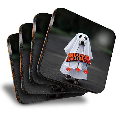 Destination Vinyl ltd Great Posavasos (juego de 4) cuadrados  Ghost Dog Halloween disfraz bebida brillante posavasos/proteccin de mesa para cualquier tipo de mesa #45145
