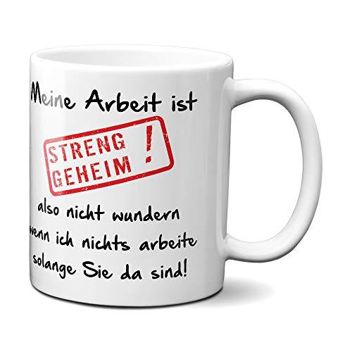 Geschenkedirekt - Tasse mit Spruch 'Meine Arbeit ist streng geheim.' für das Büro - lustig - Kollege - Kollegin - Chef